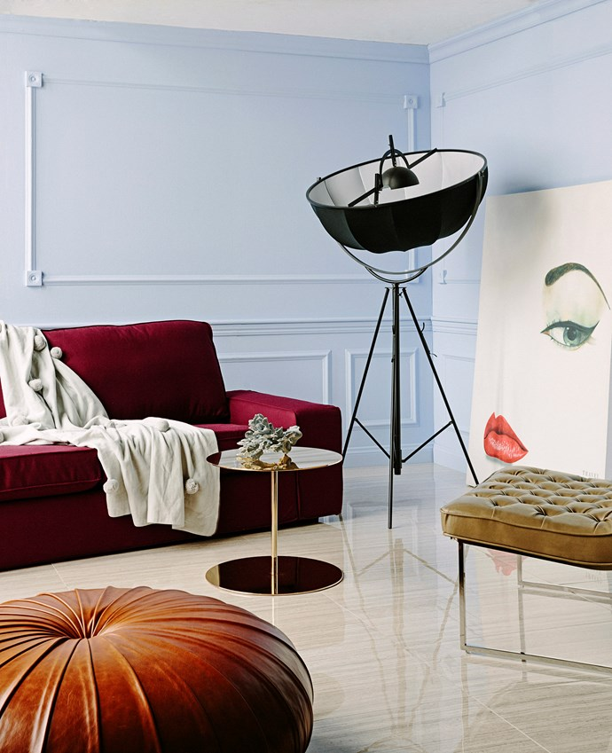 If your budget's not boundless, spend up large on one signature item, like a statement sofa, for star appeal and save elsewhere. Velvet says luxe; other materials to consider are silk (in mixes for upholstery) and layered brocades for a more traditional look. Photo: Felix Forest / bauersyndication.com.au