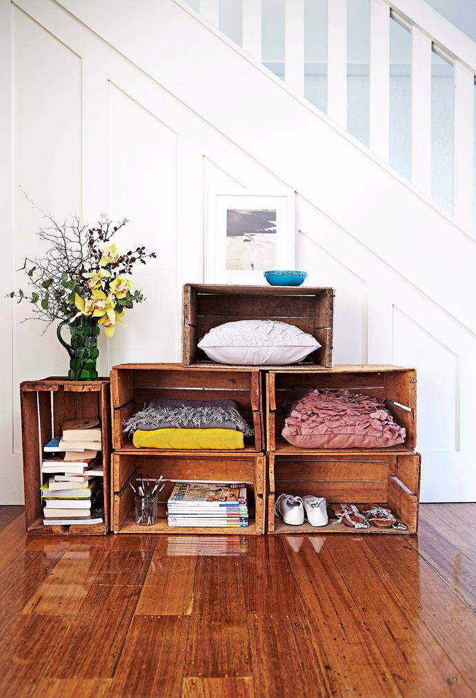 When you look around at what materials you already have, sometimes you can create a space that can never be replicated. Repurposing furniture, such as these vintage wooden crates, gives it new life and is the perfect way to rustic-up your décor. *Photo: Alicia Taylor / bauersyndication.com.au*