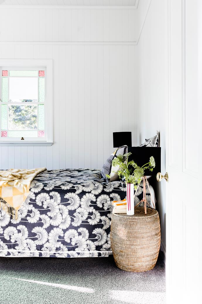 "In this [tranquil bedroom](http://www.homestolove.com.au/how-to-create-a-bedroom-retreat-3771|target=""_blank""), monochrome bedlinen injects restrained drama."