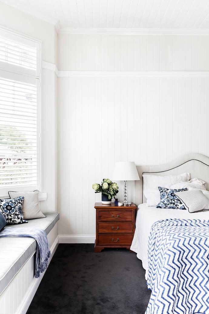The window seat in the main bedroom is the ideal place to curl up with a book.