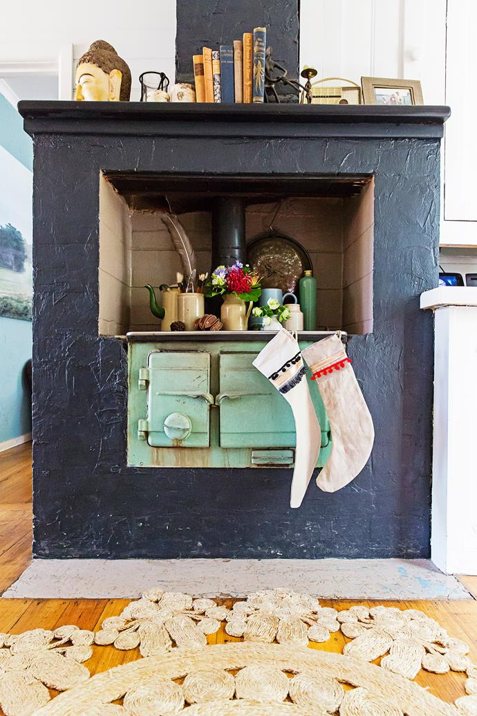 Guests are instantly greeted by the old wood stove in the entrance hall. The stove serves a piece of the home's history, as well as a pizza oven, from time to time, and a perfect place for little treasures and collections to be displayed.