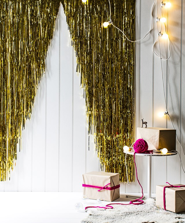 Door curtain foils in Gold, $14.95 each, from The Party People. Photo: Felix Forest | Styling: Sarah Ellison