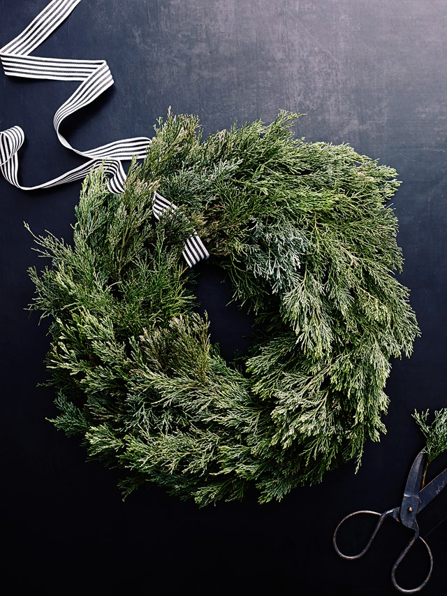 No room for a real pine Christmas tree? No problem! Make a beautiful pine wreath instead.