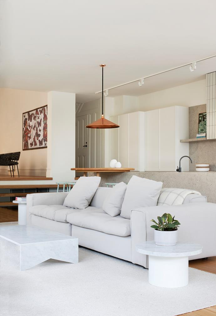 """In the new casual living room at the back of the house is an Arflex 'Nap' sofa from [Poliform](http://www.poliformaustralia.com.au/
