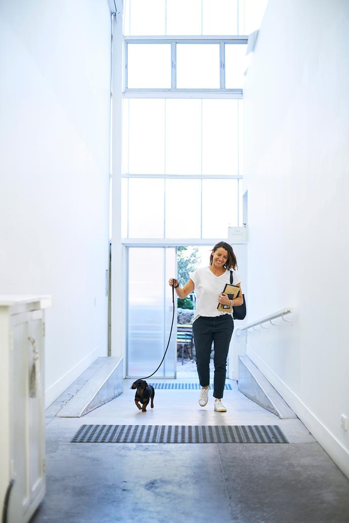 "**8am, Megan Morton's studio, Rosebery** Post school run, Rachel (and mini dachshund, Sydney) visits stylist and friend Megan Morton. ""Megan styles many of our product shoots and commissions our works for her clients. I'm here to brief her on our new ranges,"" says Rachel."