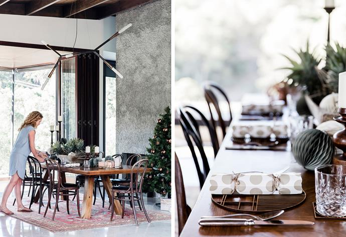 """This table setting has a distinctly earthy appeal in line with this breezy new home in Brisbane, which features robust natural materials. For a similar look, try wooden **plates**, $12.99 from [H&M Home](https://fave.co/2JKDZBE target=""""_blank"""" rel=""""nofollow"""") and 'Hame' placemat $29.95, from [Country Road](https://fave.co/2JLWoOD target=""""_blank"""" rel=""""nofollow"""")."""