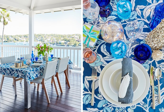 "Absolute frontage affords spectacular views across sparkling Burraneer Bay in Sydney's south, making it the perfect spot for a family breakfast before Christmas guests arrive. For similar table decor, try 'Dip-dye' indigo **napkin**, $9.95, from [Myer](https://fave.co/2F99WoE|target=""_blank""