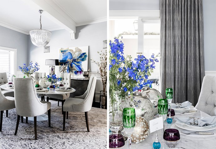 "With its generous proportions, the formal dining room in this Art Deco Sydney apartment is a divine setting for a glamorous Christmas celebration. Waterford 'Clarendon' **wine glasses** in emerald, $449 (for a set of two), from [Myer](https://fave.co/2PaTkl0|target=""_blank""