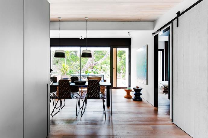"""The pendant lights above the dining table are a custom design by [Anchor Ceramics](http://anchorceramics.com/