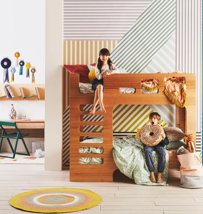 "Scoop **bunk bed**, $3350, [Lilly & Lolly](http://www.lillyandlolly.com.au/home.asp|target=""_blank""|rel=""nofollow""). Seasons **desk**, $349, [Forty Winks](http://www.fortywinks.com.au/|target=""_blank""|rel=""nofollow""). Storytellers folding **chair**, $314, [Nomi](https://nomi.com.au/|target=""_blank""|rel=""nofollow""). Hanging **bookcase**, $375, [Plyroom](http://www.plyroom.com.au/|target=""_blank""|rel=""nofollow""). **ON WALL** Graphic Murals ""Lineal"" **wallpaper** in Original, $117 per m, [Emily Ziz Style Studio](http://www.emilyziz.com/|target=""_blank""|rel=""nofollow""). **ON FLOOR** Hickory Lane ""Playground Circles"" **rug**, $99.95, [Zanui](https://www.zanui.com.au/|target=""_blank""|rel=""nofollow"")."