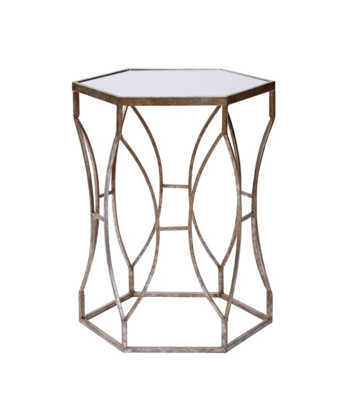 Get the look with this [Heritage massima side table](http://www.myer.com.au/shop/mystore/home/furniture-home-decor/living-room-furniture/heritage-heritage-massima-side-table-in-silver-gilt-finish-with-glass-table-top), $229