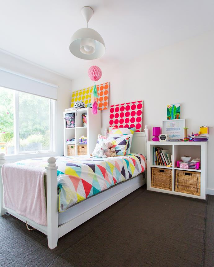"""""""I loved using more colour in the children's bedrooms, and this gave me the opportunity to create some affordable artwork for Lucy's walls,"""" says Edwina."""