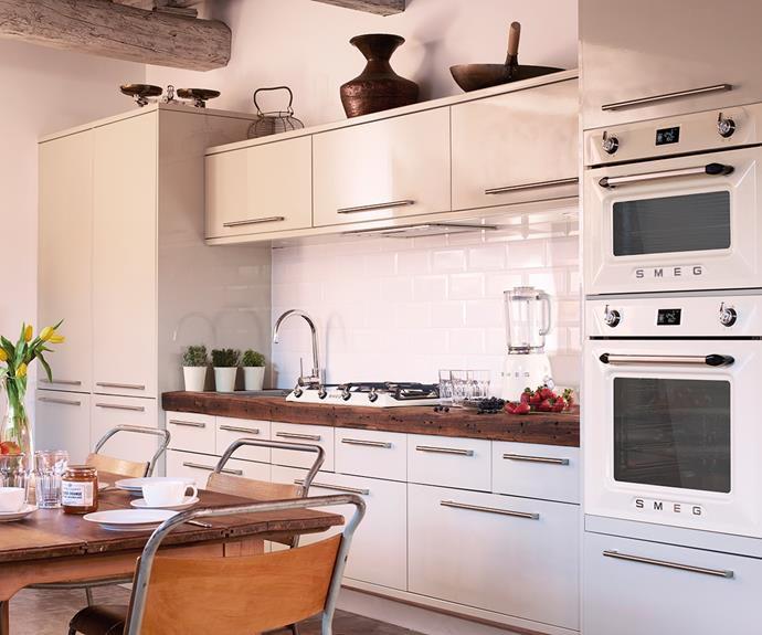Smeg's Victoria collection is an unparalleled take on modern vintage design. The Victoria 60cm oven and compact ovens are extremely versatile, working just as well in a NYC-loft style apartment as they do in a classic, country-style kitchen. Photography: supplied