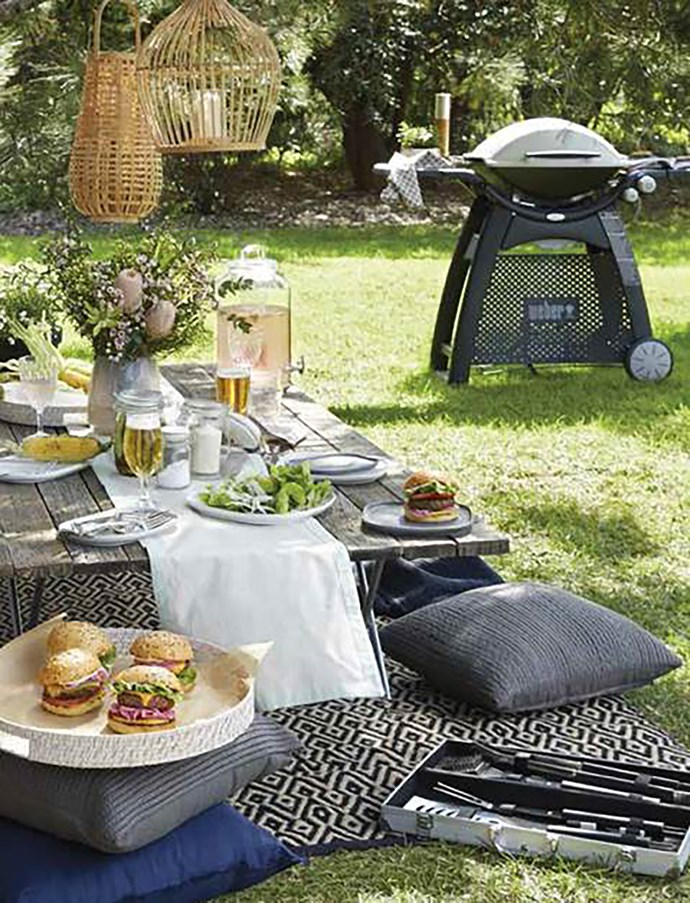 """Add some rustic Christmas charm to a relaxed backyard BBQ with some bamboo lanterns, festive flowers and rattan accents. Try Weber Q3100 Family Q LP Gas BBQ Titanium, $739; Australian House & Garden Bamboo Small Lantern, $99.95; Australian House & Garden Bamboo Large Lantern, $129.95, Sorrento Napkins (Set of 4), $19.95; Esperance Table Runner (35 x 140cm), $49.95; Rattan Round Tray (Set of 2), $79.95; Maxwell & Williams Refresh Beverage Dispenser With Infuser 8.5L, $59.95; Elemental Rectangle Platter (Set of 3), $39.95, Elemental Square Platter (Set of 3), $39.95, VUE Classic 12pc BBQ Tools Set, $49.95, all [Myer](http://www.myer.com.au/
