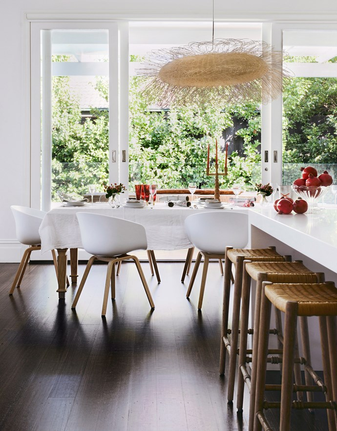 Festive tones such as red and green can instantly add a Christmassy element to your home without sacrificing your signature style. Try coloured glassware or use fresh fruit and Christmas berries to decorate your table. *Photography: Lauren Bamford / bauersyndication.com.au*