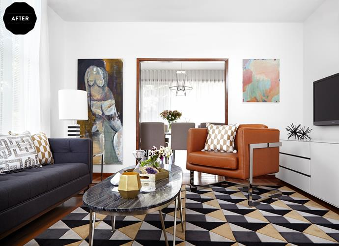 """Warm tones of gold, caramel and tan were used to accentuate the timber's warmth. These hues are offset by the use of black, a response to the hard lines and bold shapes of the original architecture.The rug is from Greg Natale's New Modern collection with Designer Rugs.The Sofa is from [Globe West](http://www.globewest.com.au/ target=""""_blank"""" rel=""""nofollow"""")."""