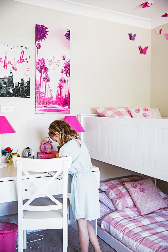 "Paris and Scarlett have the perfect girls' room – bunk bed and desk from [Domayne]((http://www.domayneonline.com.au/|target=""_blank"") and pink wall art from [Typo](http://cottonon.com/AU/shop-by-brand/typo/?pmin=0&region=AU