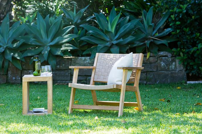 """""""Agaves add a lovely architectural element and are incredibly low-maintenance,"""" says Matt. The woven chair is from [Eco Outdoor](https://www.ecooutdoor.com.au/ target=""""_blank"""" rel=""""nofollow"""")."""
