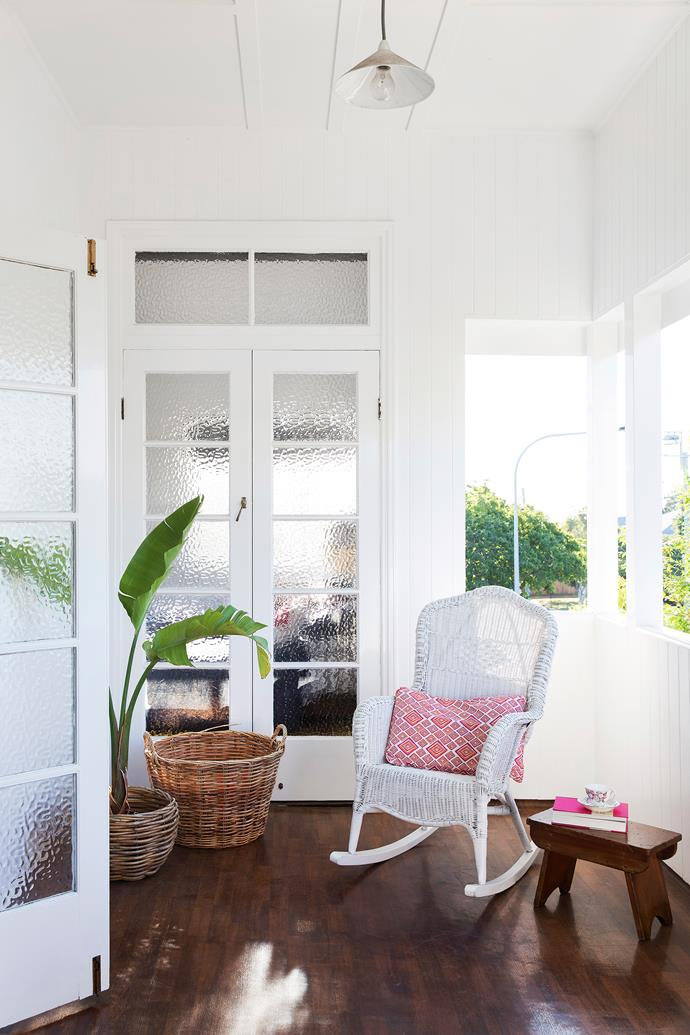 The deep-fronted verandah is a delightful spot for reading or dreaming.