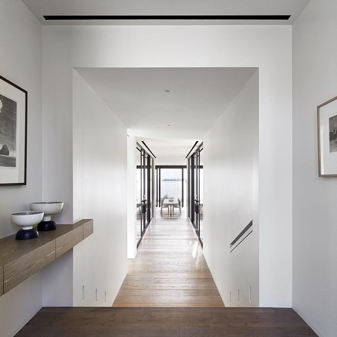 "Recessed wall lights illuminate the hallway. Ettore Sottsass ceramics for Bitossi from [Hub](http://www.hubfurniture.com.au/|target=""_blank""|rel=""nofollow"")."
