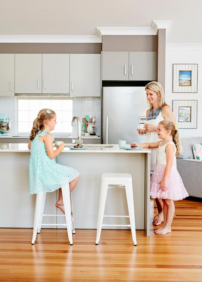 """As an avid cook, Sharna's favourite place is the kitchen. """"I love having a walk-in pantry and have a specific area to store all of my ingredients. This space is my haven and I often pull up a stool and read my cookbooks in here."""""""