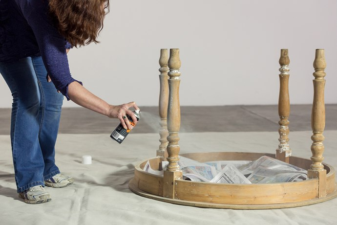 TIP: Turn your table upside down and paint the legs first.