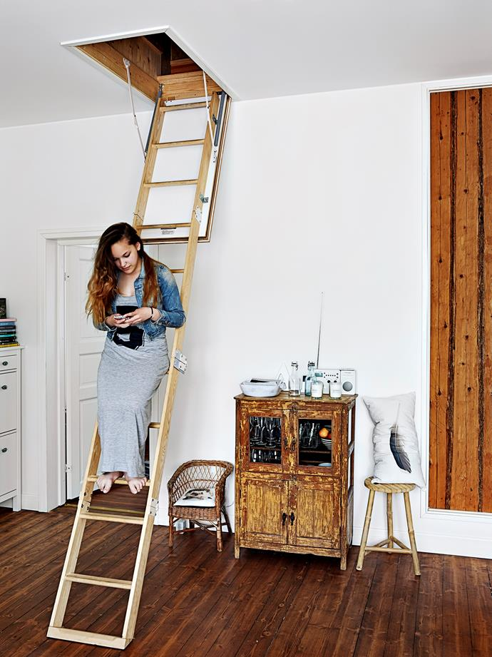 Elle climbs down the ladder from the bedroom, which Jonna says brings some additional excitement to the kids at bed time.