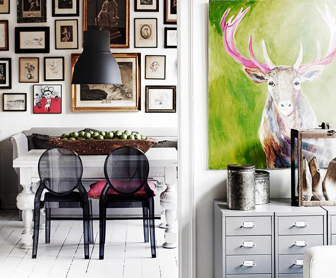 Gitte comes from a family of artists. Works by her sister, mother and grandfather are sprinkled through the apartment.