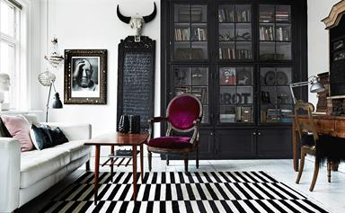 A theatrical inner-city apartment with artistic flair