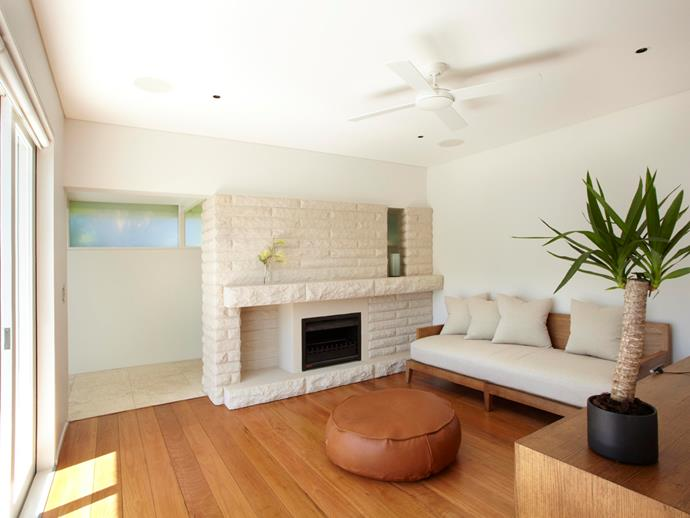 Coastal style reigns in this beachside pad that's equipped for both the warmer and cooler months with this enticing fireplace. Photo: [Unique Estates](http://uniqueestates.com.au/listings/holiday_rental-298732-palm-beach/).