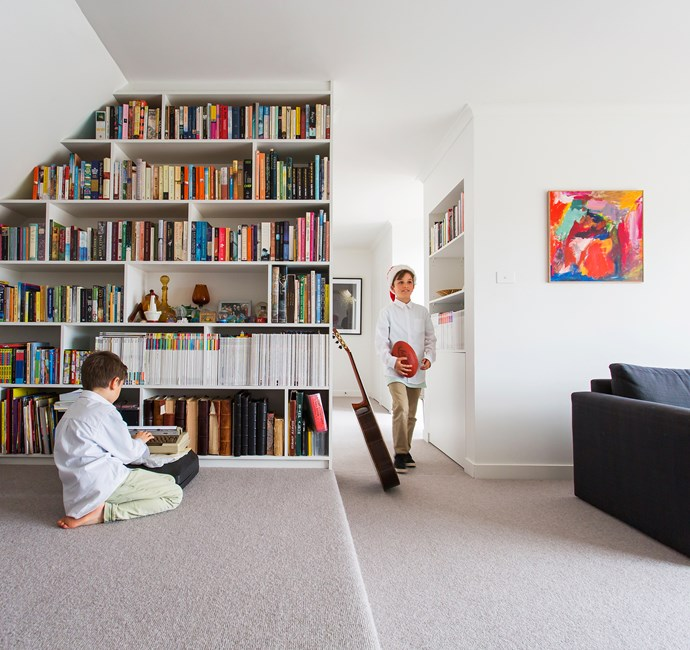 """We adore books, and this custom shelving was one of the best decisions we made!"" says Paula."