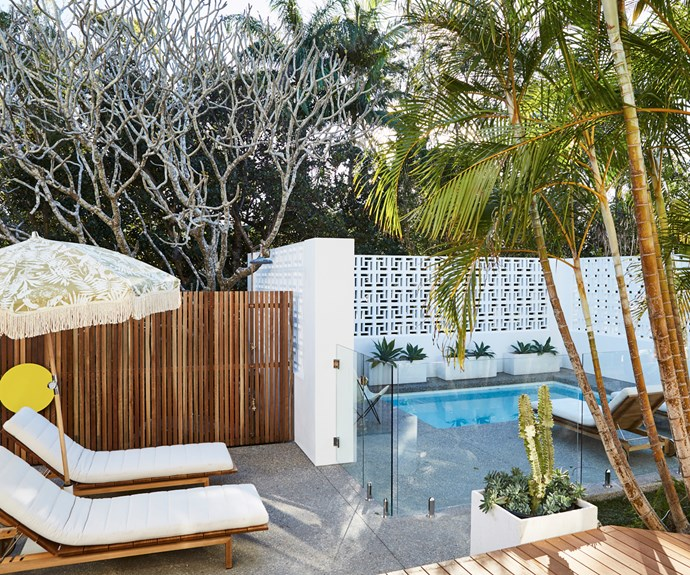The style extends outdoors to a beautiful shared space with luxe sun lounges and plunge pool.