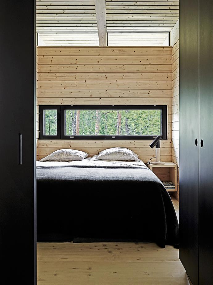 The bedrooms are a study in organic elegance, with linen sheets and wool blankets and more timber panelling.