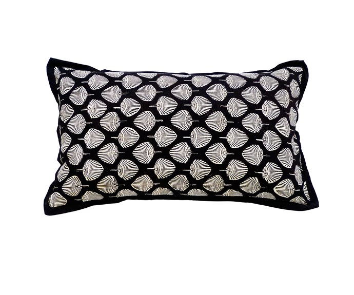 Fan Fair cotton cushion cover (52x32cm), $75, [Sally Campbell Handmade Textiles](http://www.sallycampbell.com.au/)