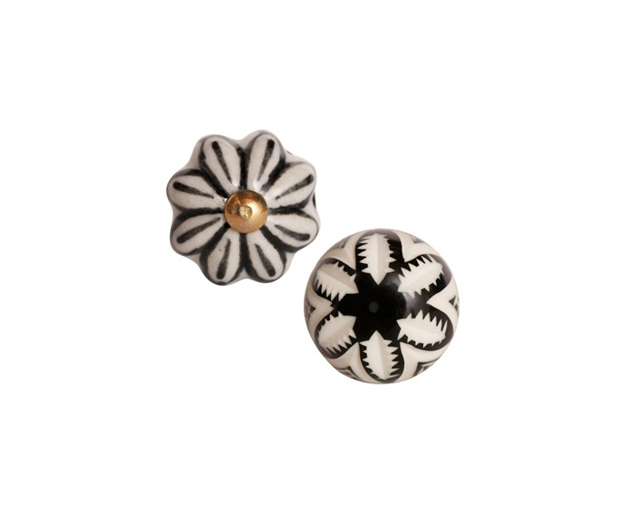 Pineapple Express resin knob, $8 (left), and Daisy ceramic knob, $6, both [Hepburn Hardware](http://hepburnhardware.com/).