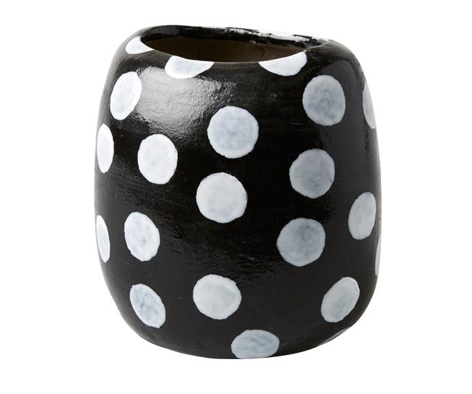 Polka Dot terracotta vase, $70, [Have You Met Miss Jones](http://www.jonesandco.com.au/).