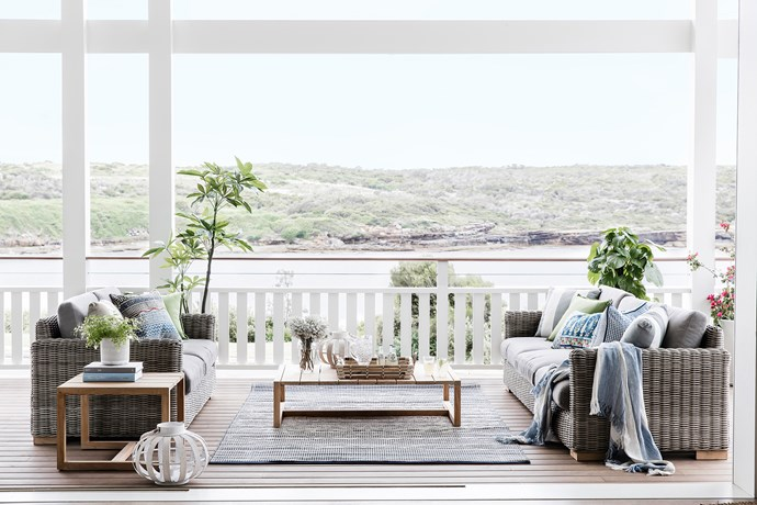 The 200m2 verandah is the jewel in the crown of this waterfront home. Coffee table and side table, [Eco Outdoor](https://www.ecooutdoor.com.au/). Cushions, all [Pottery Barn](http://www.potterybarn.com.au/). Tray, [Freedom](https://www.freedom.com.au/). Throw, [L&M Home](http://www.linenmoore.com.au/). Lantern, [Papaya](http://www.papaya.com.au/). Outdoor rug, [Fab Habitat](http://www.fabhabitat.com.au/). Pacific teak decking, [Woodform Architectural](http://www.woodformarch.com/). Faux tree, [Floral Interiors](http://www.floralinteriors.com.au/). Smart buy: Claybourne outdoor sofas, $3299 (2.5 seater) and $4499 (3.5 seater), [Eco Outdoor](https://www.ecooutdoor.com.au/).