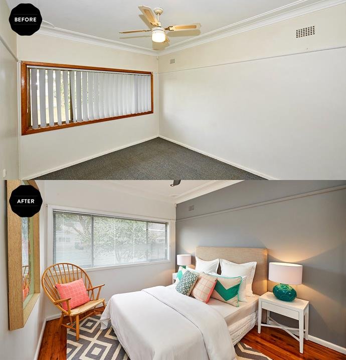 Adding a rug to newly polished floors and painting a feature wall has made a world of difference in the main bedroom.