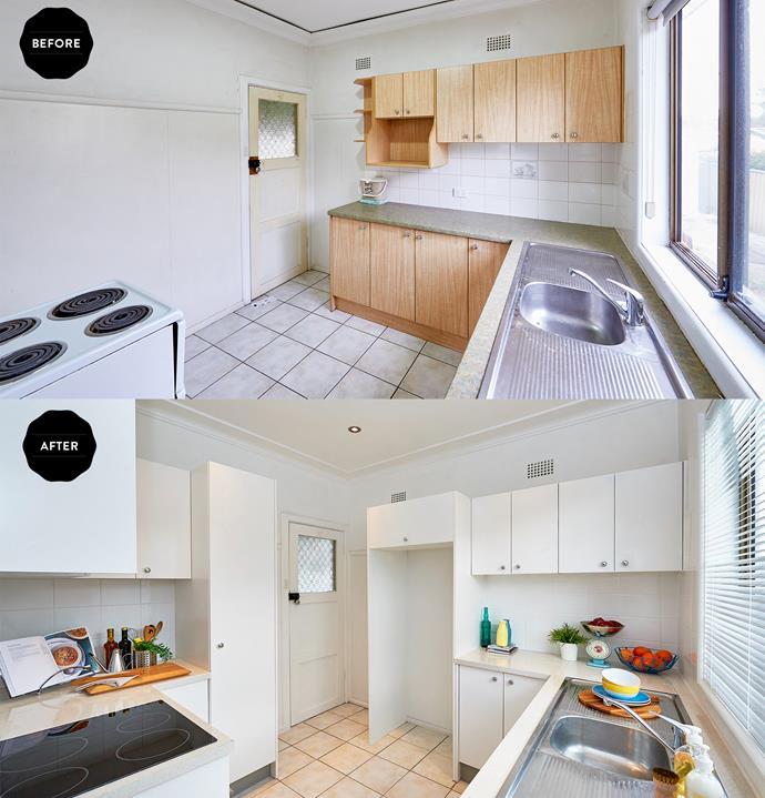 Laminate paint and new cabinetry improved both the look and the functionality of the kitchen.