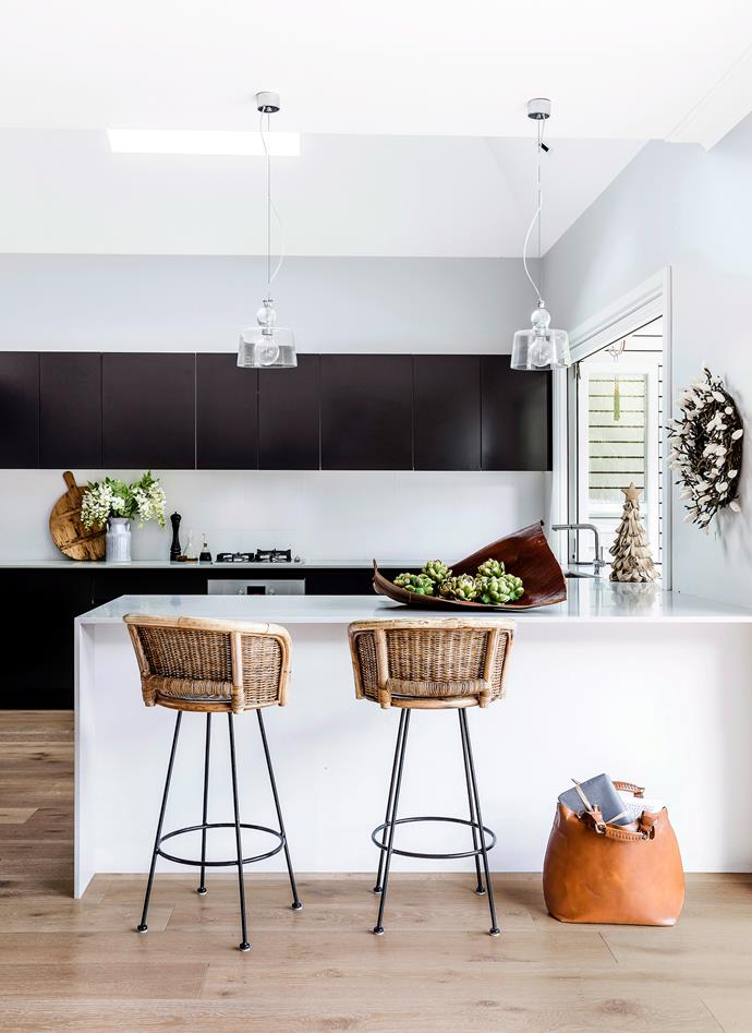 **Kitchen - ** Stools work effectively in kitchens – they soften the straight lines and add texture. Photo: Maree Homer / bauersyndication.com.au