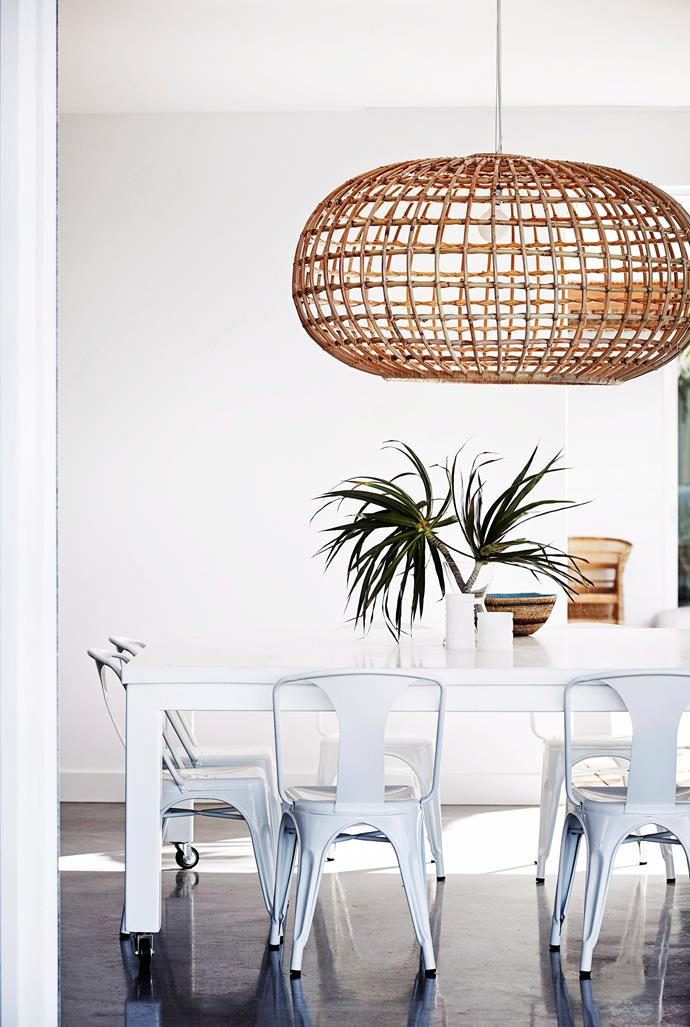 **Lighting -** Cane and wicker light fittings like this large pendant, will make a statement without going OTT. Lightweight at any size, cane and wicker are perfect for oversized styles in the entry foyer or over the dining table.
