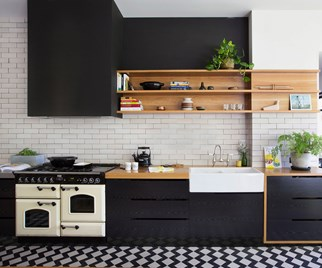 trendy black kitchen