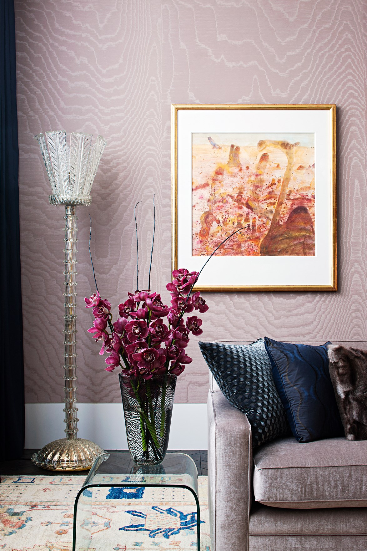 Dubbed 'Millennial pink,' the colour-of-the-moment is re-imagined in this gorgeously textured moiré wallpaper in this  [luxurious Melbourne penthouse](http://www.homestolove.com.au/melbourne-penthouse-reminiscent-of-beautiful-old-hotel-4622). *Photo: Shannon McGrath / Belle*