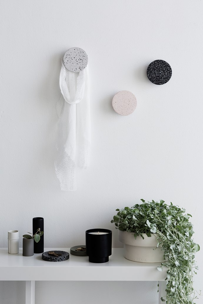 The Terrazzo Wall Hooks in Rose, Black and Snow provide an eye-catching wall storage solution that doubles as an artistic display.