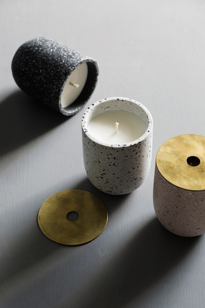 Terrazzo candles in Black, Snow and Rose with brass lids and a luxe touch to the otherwise earthy range.