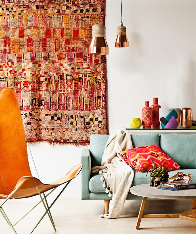"The Moroccan look is one that has been ""done"" for many years – and was kickstarted when the original gypsetters (artists, surfers, designers) headed to Marrakech to enjoy a counter culture. This room is rocking that whole look in a completely new way thanks to an explosion of colour and pattern mixed with contemporary furniture pieces. Photo: Nick Scott / bauersyndication.com.au"