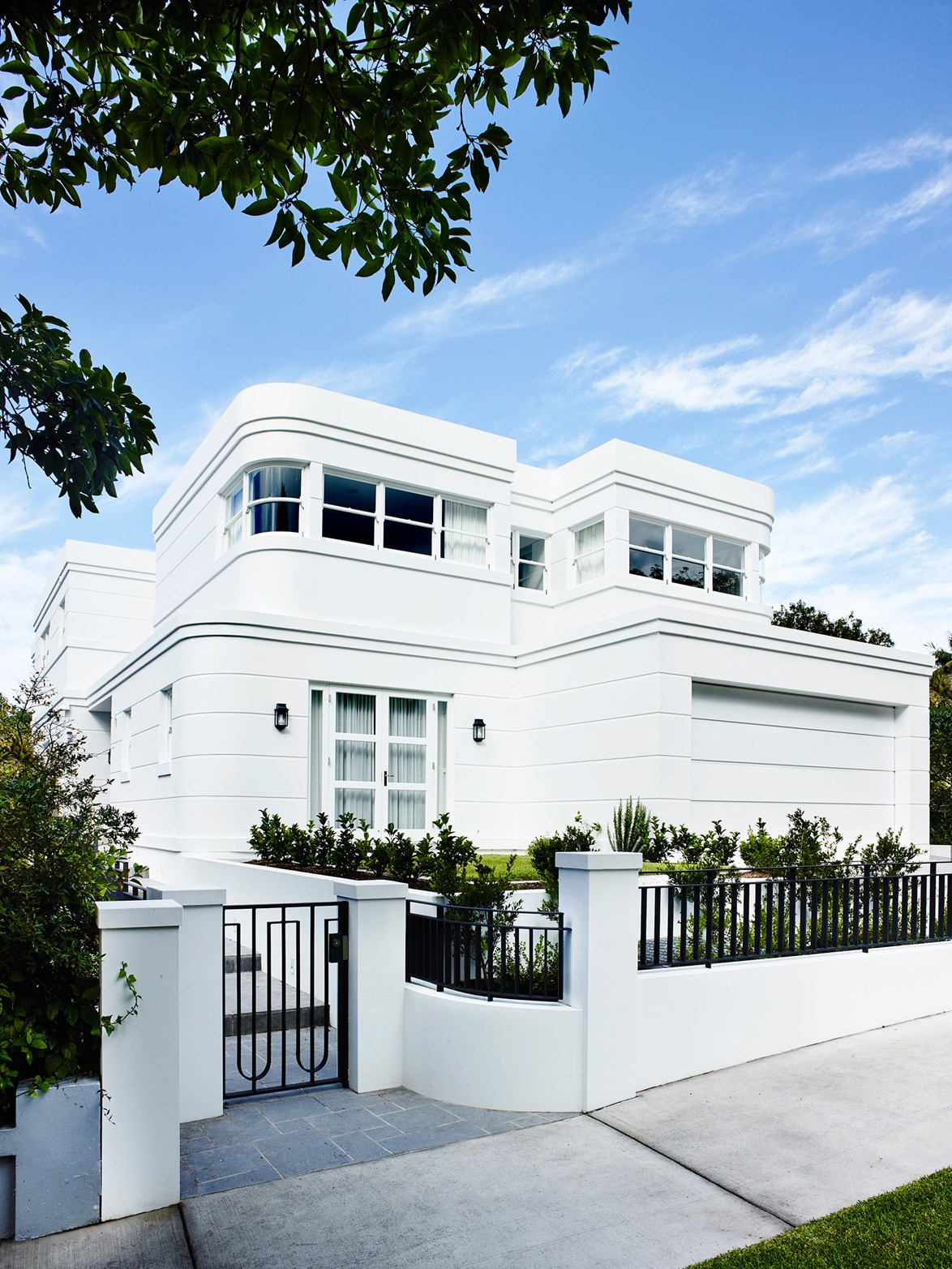 """This home in Sydney's eastern suburbs is a classic example of late art deco architecture, known as """"streamline moderne""""."""
