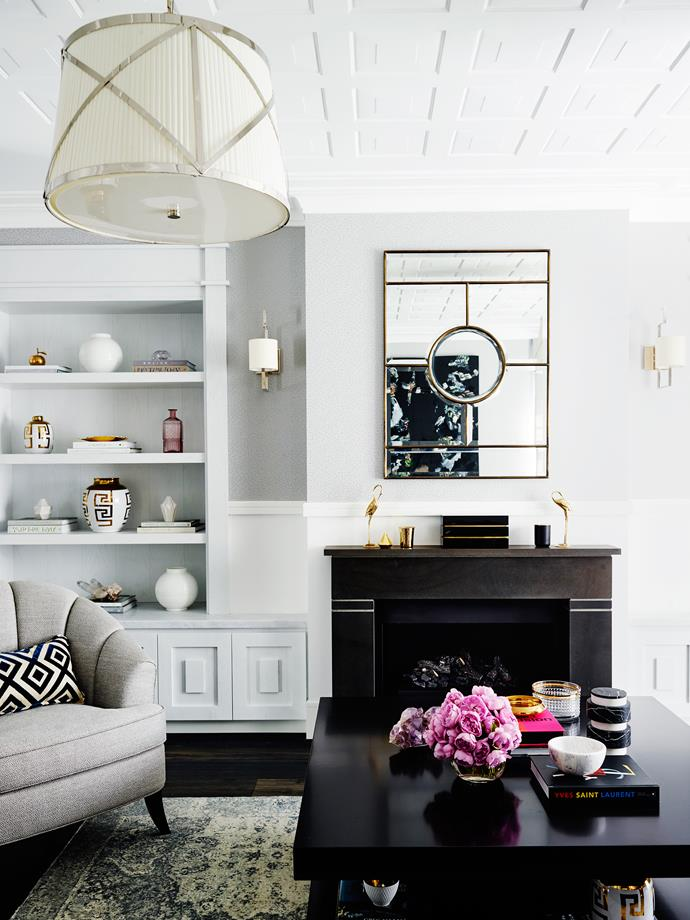 """Greg Natale 'Aquarius' wallpaper provides a textural backdrop in the [formal living room](http://www.homestolove.com.au/drop-dead-gorgeous-living-rooms-3904