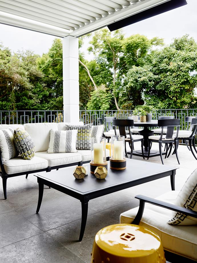 A louvred roof and integrated outdoor heating allow this terrace to be used year round.