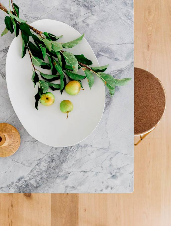 """Dolomite, a sedimentary stone, ticks all the boxes as a benchtop material, says Juliette. """"It's extremely robust, doesn't stain and is very forgiving."""""""